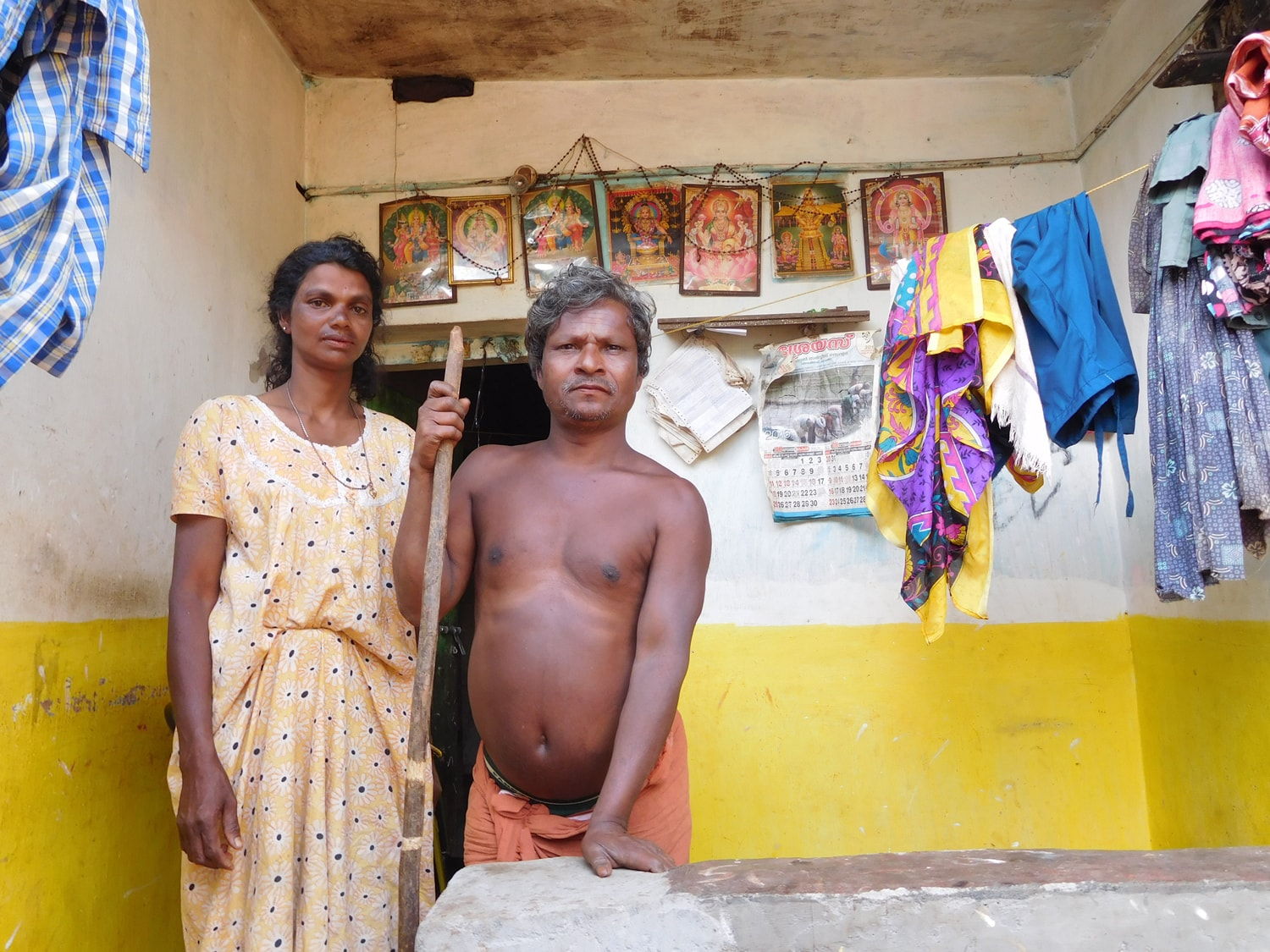 Shivadasan's father and mother at thier home in Kallur Colony in Wayanad. Photo: TA Ameerudheen