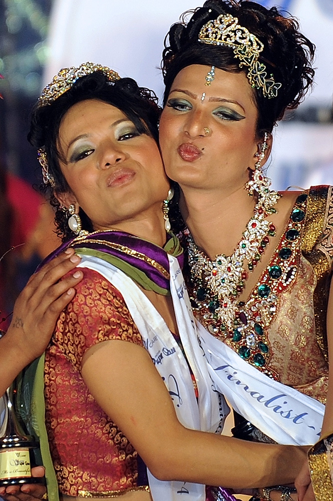 Winner Bobby (left) and second runner-up Ritu pose after the finals of the 'Indian Super Queen' beauty pageant for the transgender community in Mumbai. Credit: Indranil Mukherjee/AFP
