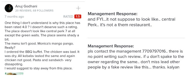 A negative review of Central Perk 7, Pune, and the management's response.