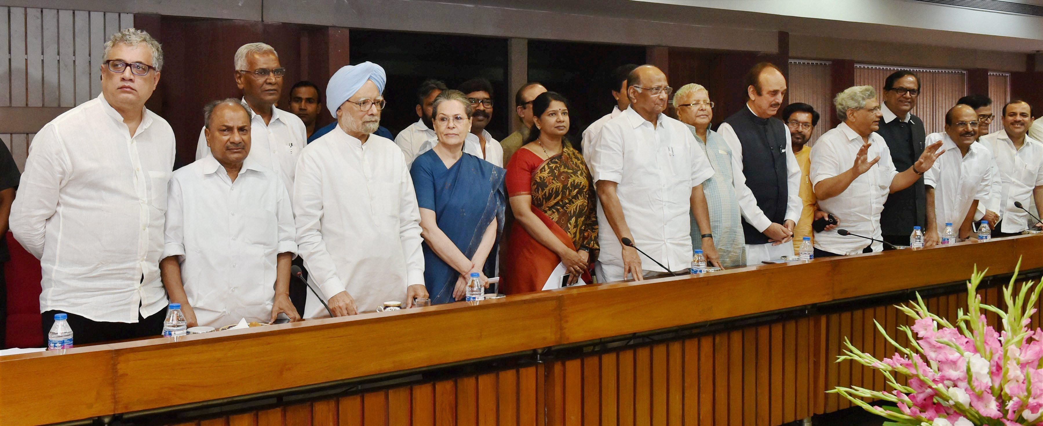 Opposition leaders representing 17 parties met in Delhi on Thursday to decide on a joint Presidential candidate.