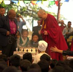 Photos: Archbishop Tutu whoops it up at Dalai Lama's 80th birthday party in Dharamsala