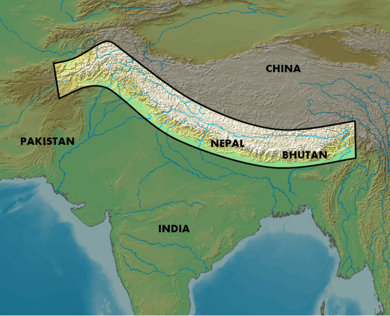 A rough outline of the Himalayas.