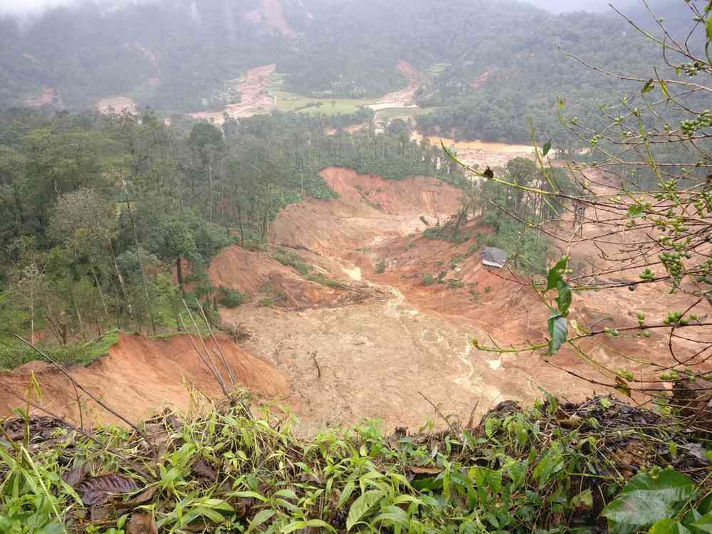 Nothing but mud left in the wake of the landslide near Yemmethalu where the NDRF was recovering bodies on Wednesday. | Image: Nayantara Narayanan