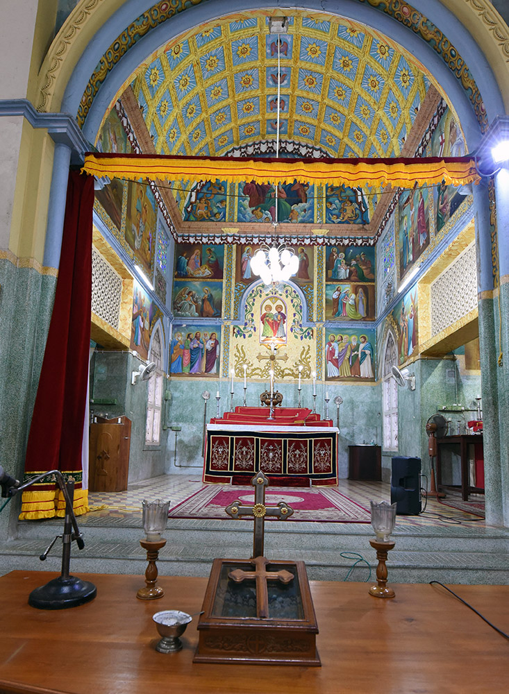 Inside St Peter's Church. The church has been closed several times for many years because of the factional feud.