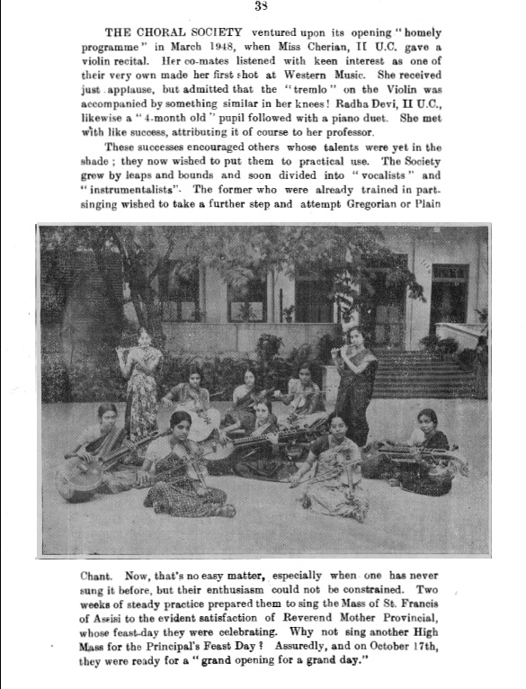 A page from the 1948-'49 magazine of Stella Maris College.