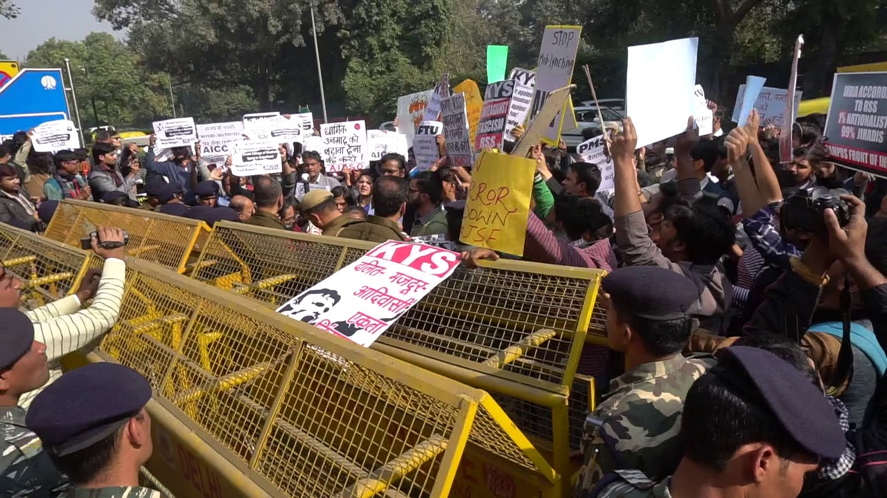 A demonstration against the murder of Afrazul Khan in front of Bikaner House in New Delhi. (Credit: YouTube)
