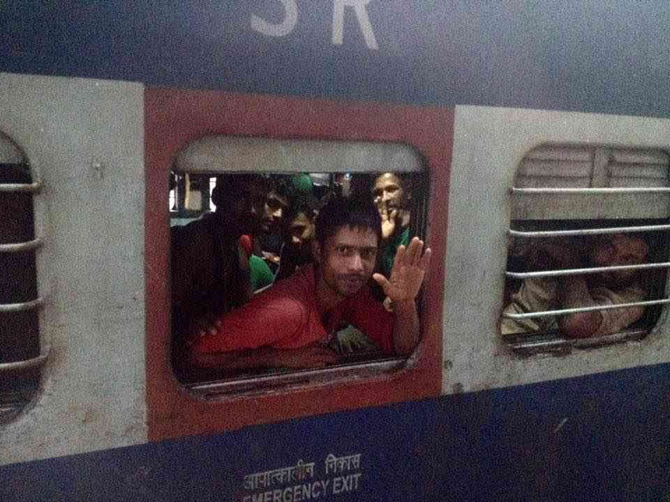 The first special train taking migrants home from Kerala left Ernakulam on August 18. Photo courtesy the Centre for Migration and Inclusive Development