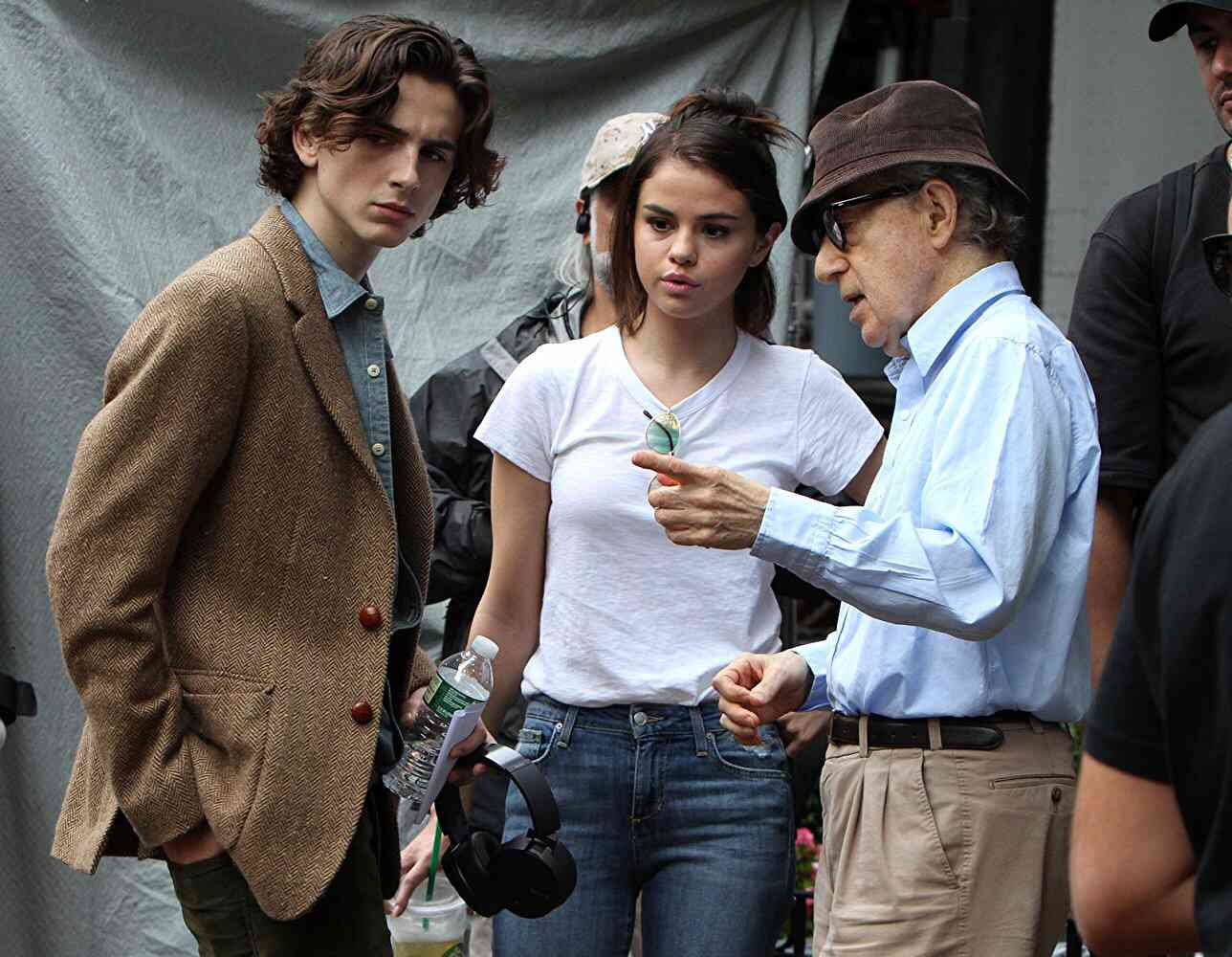 Timothee Chalamet (left), Selena Gomez and Woody Allen. Courtesy Amazon Studios.