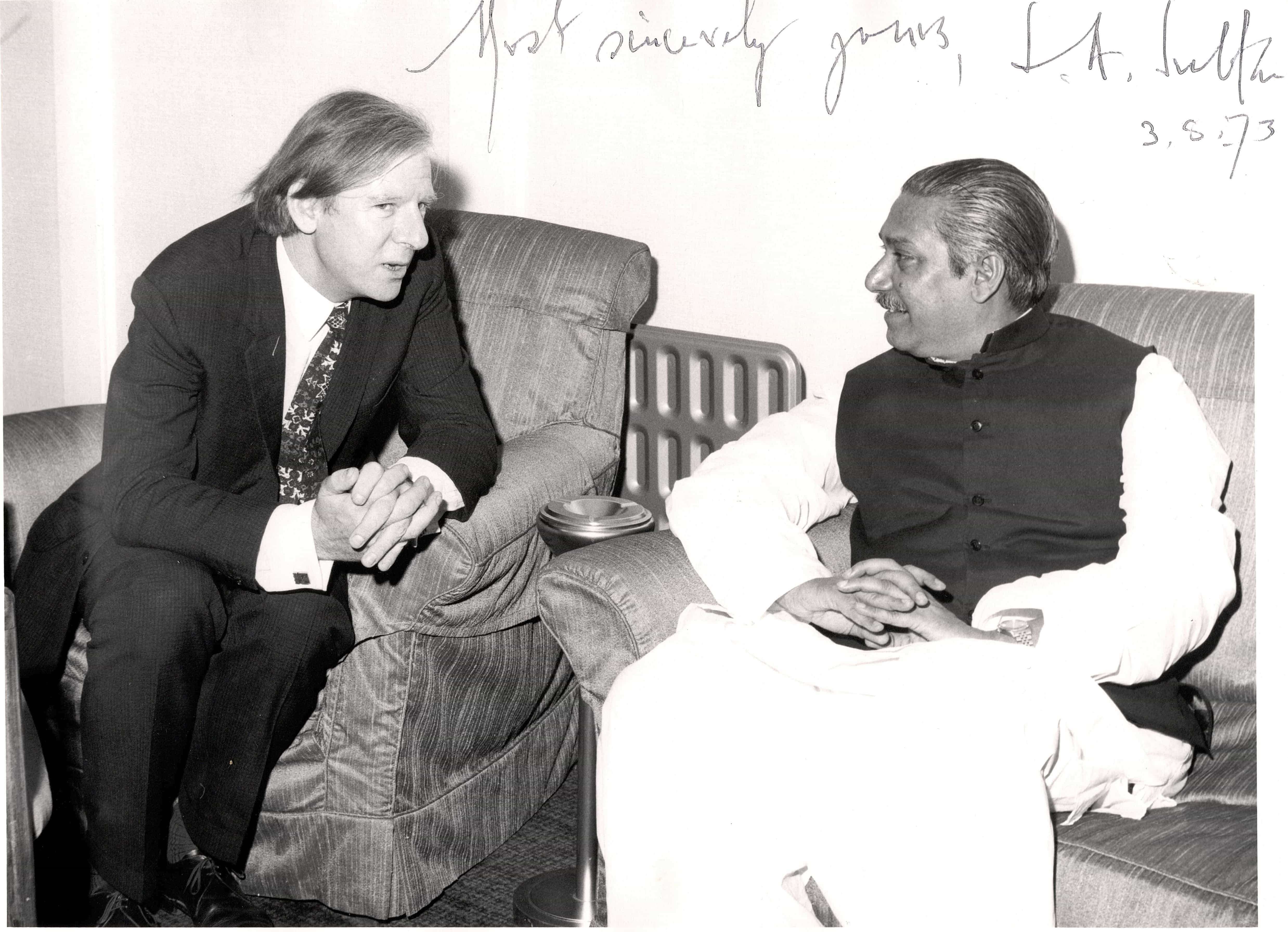 Peter Shore (Labour MP) with the founding leader of Bangladesh, Sheikh Mujibur Rahman, 1973. Image courtesy: LSE