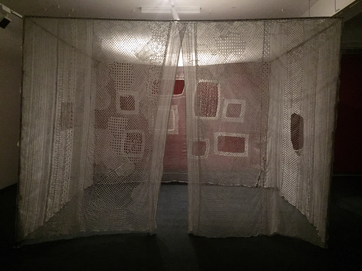 "Designer Aneeth Arora's embroidery pavilion, ""Link/Interlink"" (2014), is inspired by Mughal architecture. The designer used dissolvable plastic and machine embroidery to achieve the lacy effect. Photo credit: Chanpreet Khurana"
