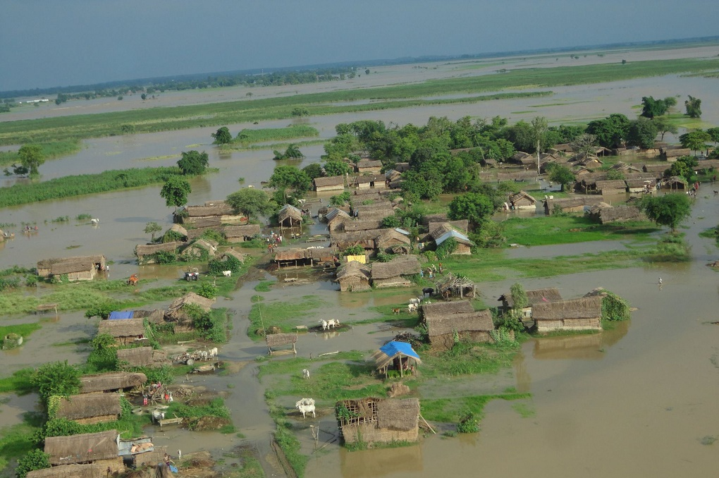 A flooded village in Banke district of western Nepal [image courtesy Nepalese Army Facebook page]
