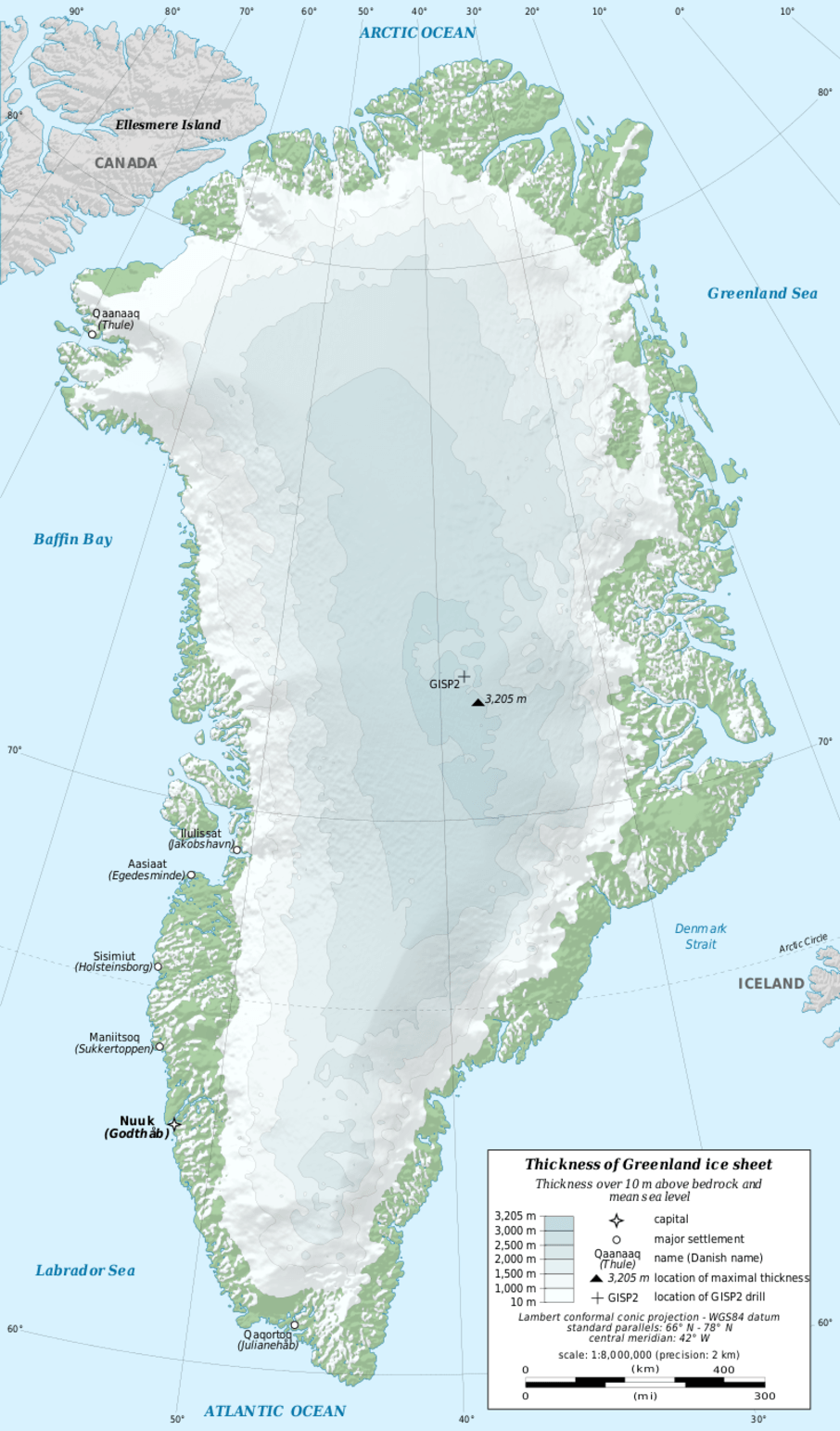 Most of Greenland is covered by more than a kilometre of ice.  Image credit: Eric Gaba / NGDC [Licensed under CC BY 4.0]