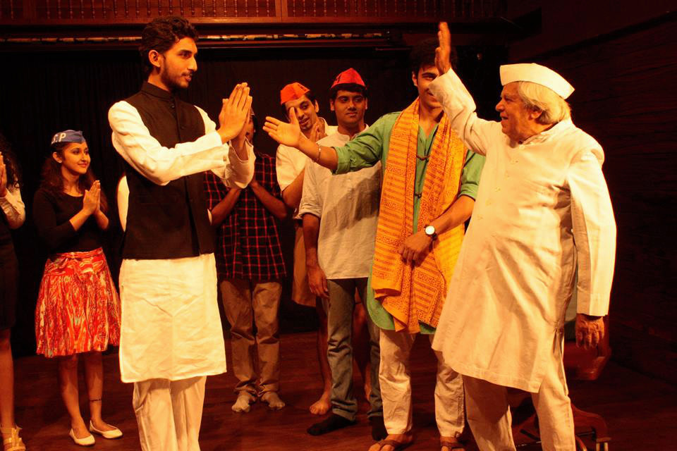 Gopal Sharman (extreme right) performing a political satire (Photograph: Courtesy Aksharatheatre.com).