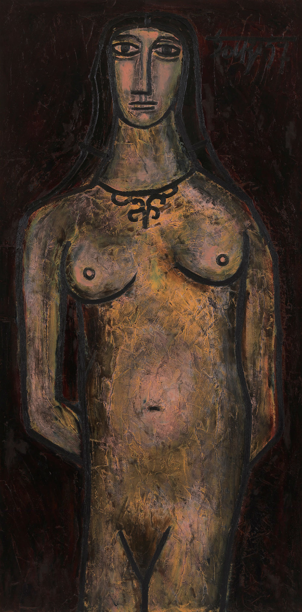 FN Souza, 'Standing Nude', 1957, Private collection. Image courtesy: Asia Society.