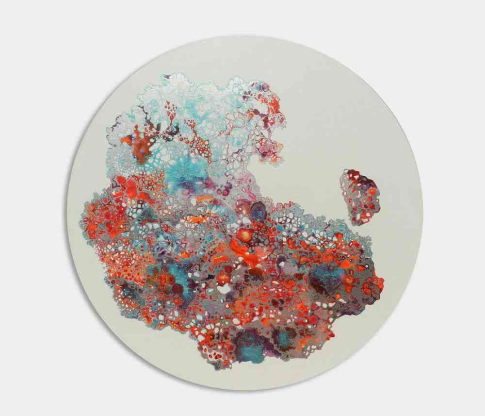 'Gossamer III', Diameter 3' (Acrylic and pigment on canvas), 2018.