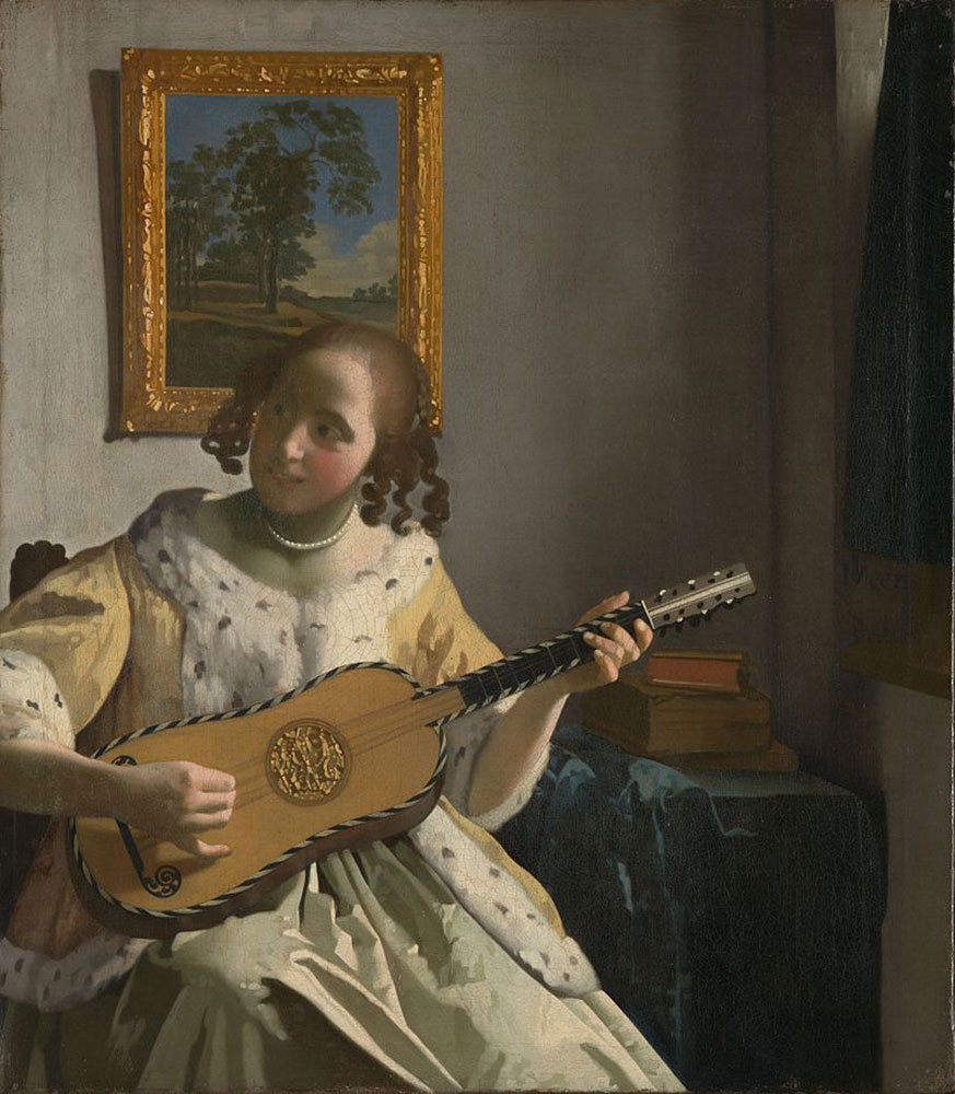 Young woman playing the guitar. Photo credit: National Gallery online catalogue/Wikimedia Commons [Licensed under CC BY CC0]