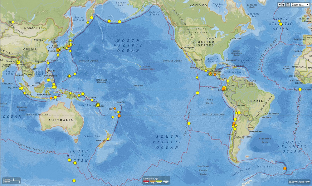 This map shows all earthquakes with a magnitude over 4.5 from April 11-18. You can see that many earthquakes occurred around the Pacific during that period, but there are clusters around Japan and Ecuador following the large earthquakes there. Source: USGS.