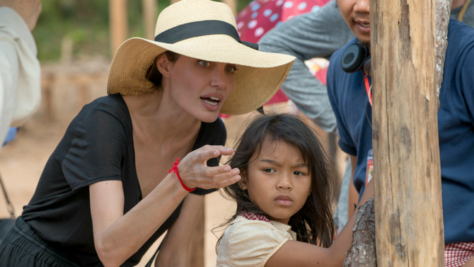Angelina Jolie in the sets of First They Killed My Father. Image credit: Netflix.