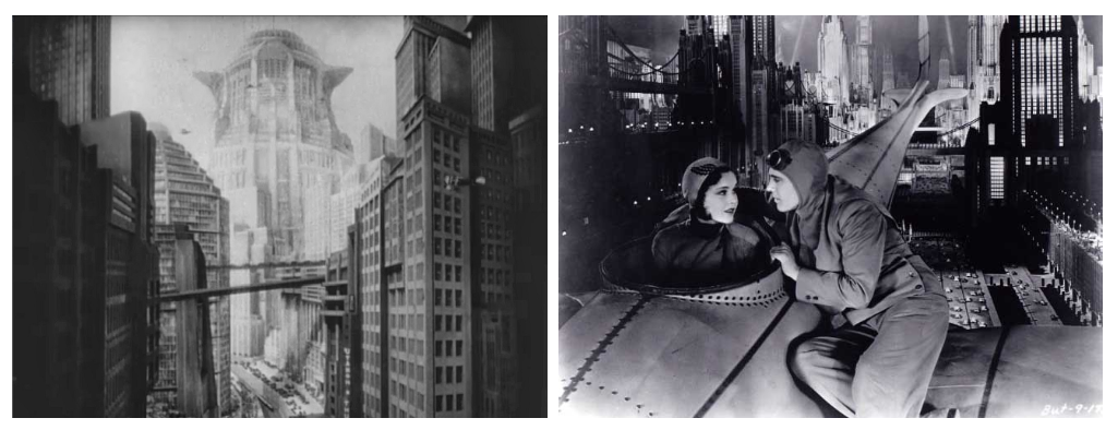 "Left: ""Metropolis"", directed by Fritz Lang, 1927. Right: ""Just Imagine."" A couple have a conversation while setting their aircraft on hover mode above New York. Directed by David Butler, 1930."
