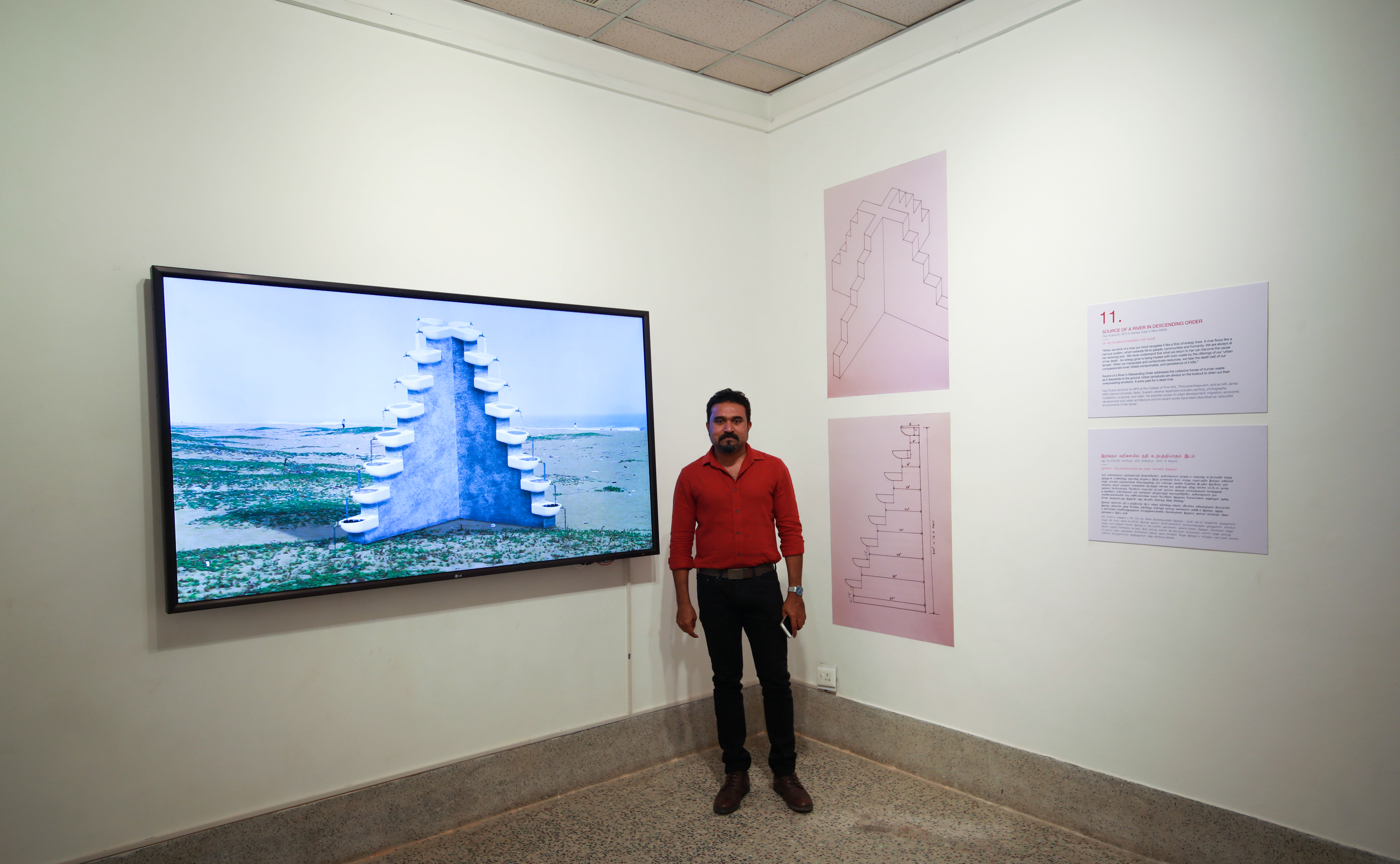 Gigi Scaria with his project 'Source of a River in Descending Order'. Credit: Madras Photo Bloggers