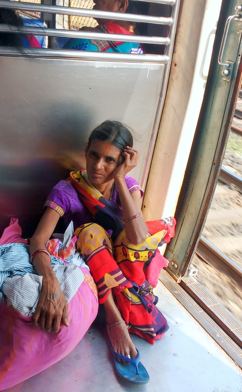 Ratiben on a Mumbai local enroute to the Thane market. (Photo credit: Kunal Soni).