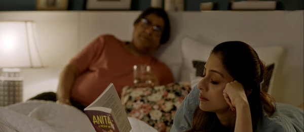 Tabu reading Anita: A Trophy Wife in Andhadhun (2018). Courtesy Matchbox Pictures.