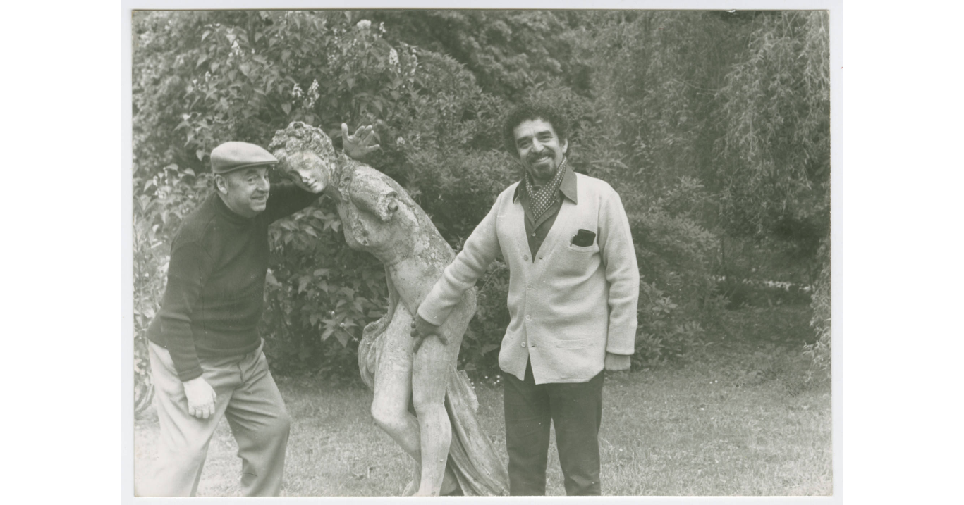 With Pablo Neruda at Neruda's house in Normandie, France, 1973 (Harry Ransom Center at The University of Texas, Austin)