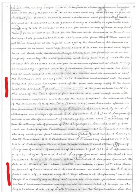 Document showing transfer of property from the taluk board to the Madras Presidency. Highlighted text shows the conditions laid down during the transfer of the property.