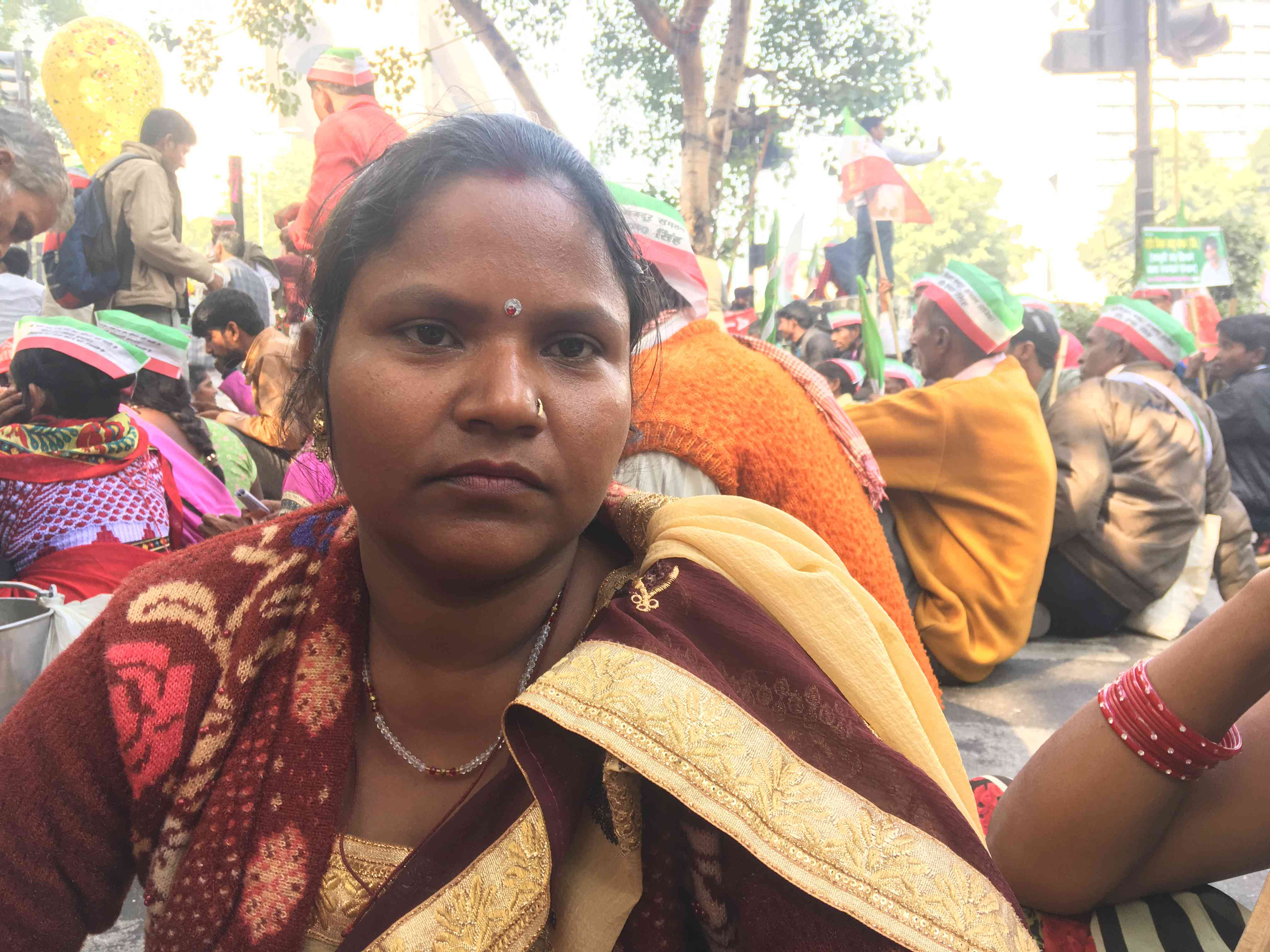 Sita Devi from Unnao attended the Kisan Mukti March to assert her right to equal employment opportunities.