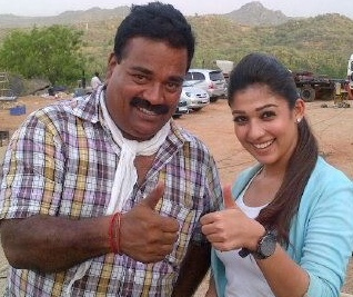 S Vijayan with the actor Nayanthara.