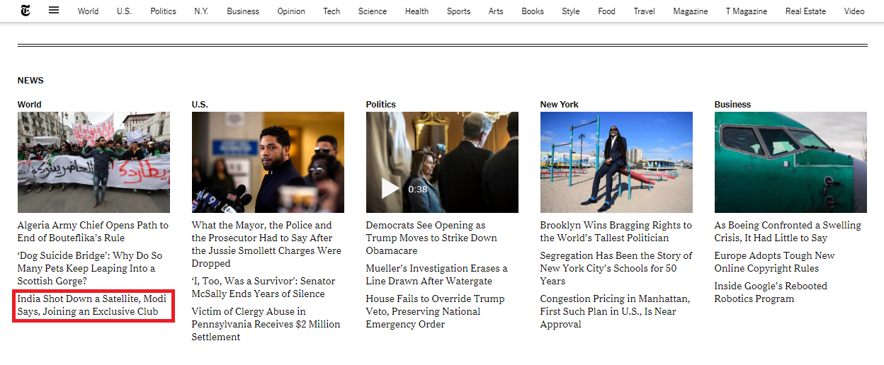 The world section of the 'New York Times' website.