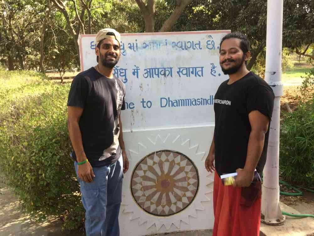 Chirag Sheth (right) with a friend at the Dhamma Sindhu Vipassana Meditation Centre.