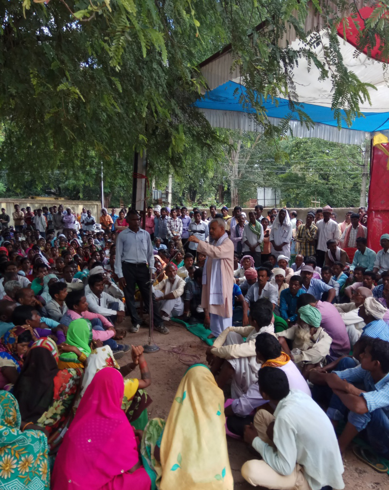 A protest regarding land issues and displacement was held in Jharkhand's Latehar district on October 6. Photo courtesy: George Monipally.
