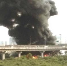 Photos: Oil tanker blast sparks off major fire right by Mumbai's Eastern Freeway