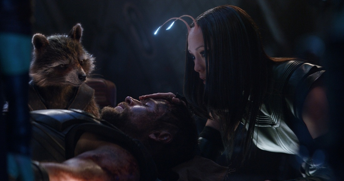Chris Hemsworth as Thor, Groot and Pom Klementieff as Mantis.