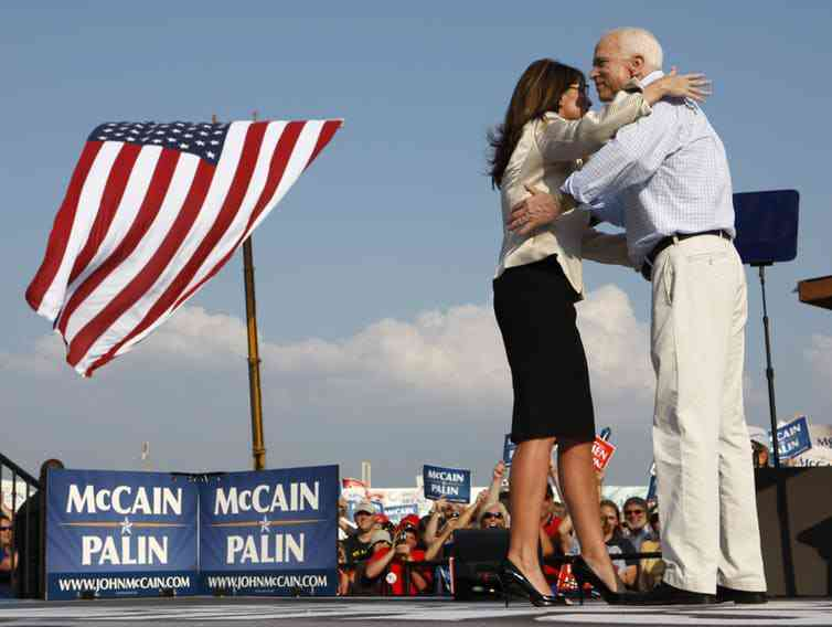 Republican presidential candidate Sen. John McCain and his running mate Alaska Gov. Sarah Palin, 2008. Photo credit: John Gress/Reuters