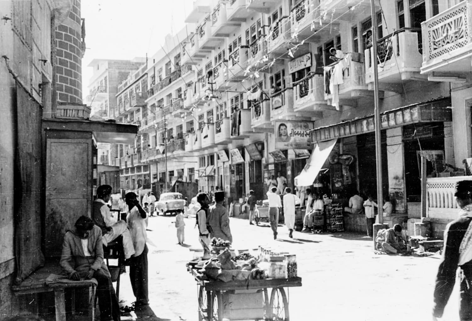 Karachi's Burns Road area in 1961. The area, first developed as a posh locality by the British, had become a middle-class neighbourhood in the 1960s, largely populated by Mohajirs.