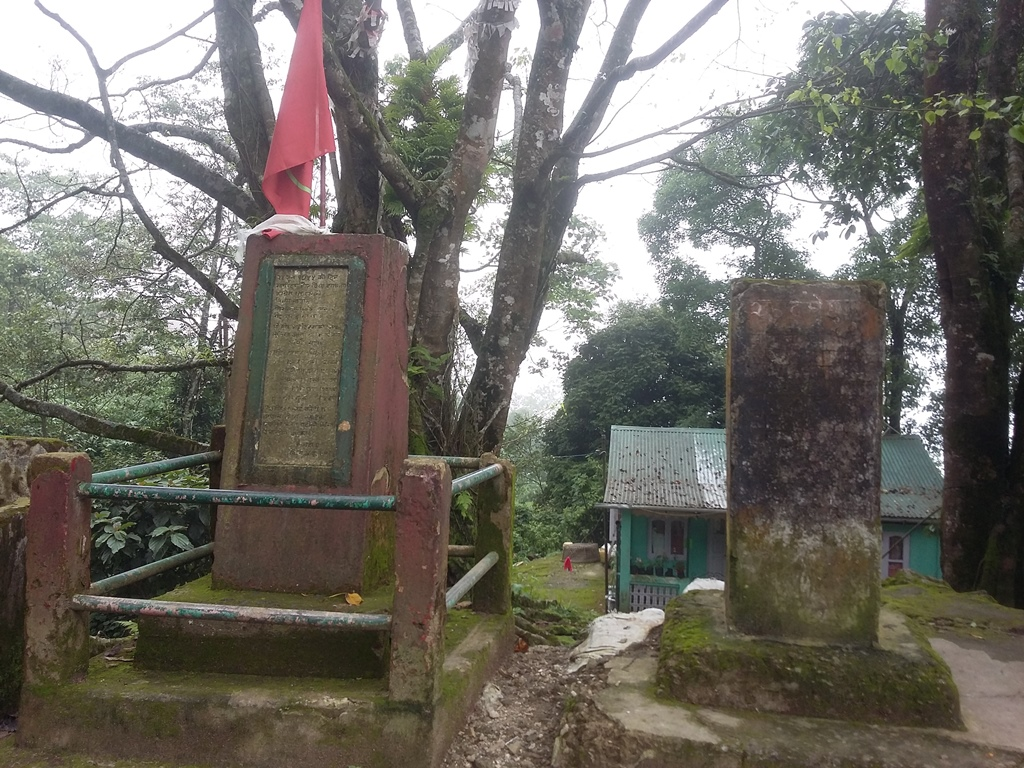 With the old memorial (right) in a dilapidated state, a new memorial (left) has been erected by the Communist Party of Revolutionary Marxists at the site of the June 1955 police firing in memory of the six people killed in the incident. Photo credit: Anuradha Sharma