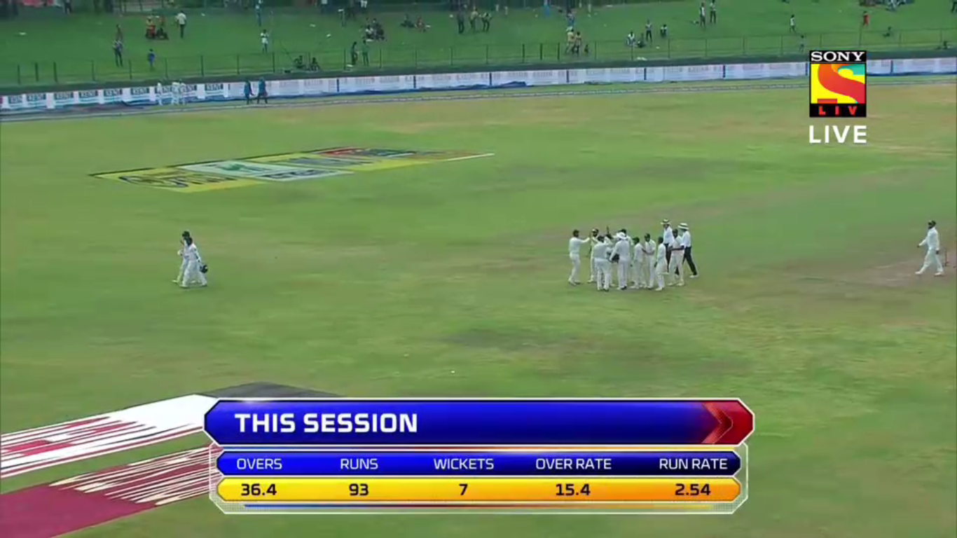 Sri Lanka crumbled on day two. (Screengrab)