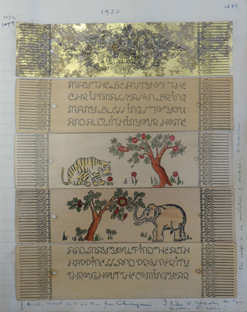 Christmas and New Year wishes Le May received from Chiang Mai in 1950. This is a very rare example of 20th-century printing on palm leaves, with hand-coloured illustrations. Photo credit: British Library, MSS Eur C275/8