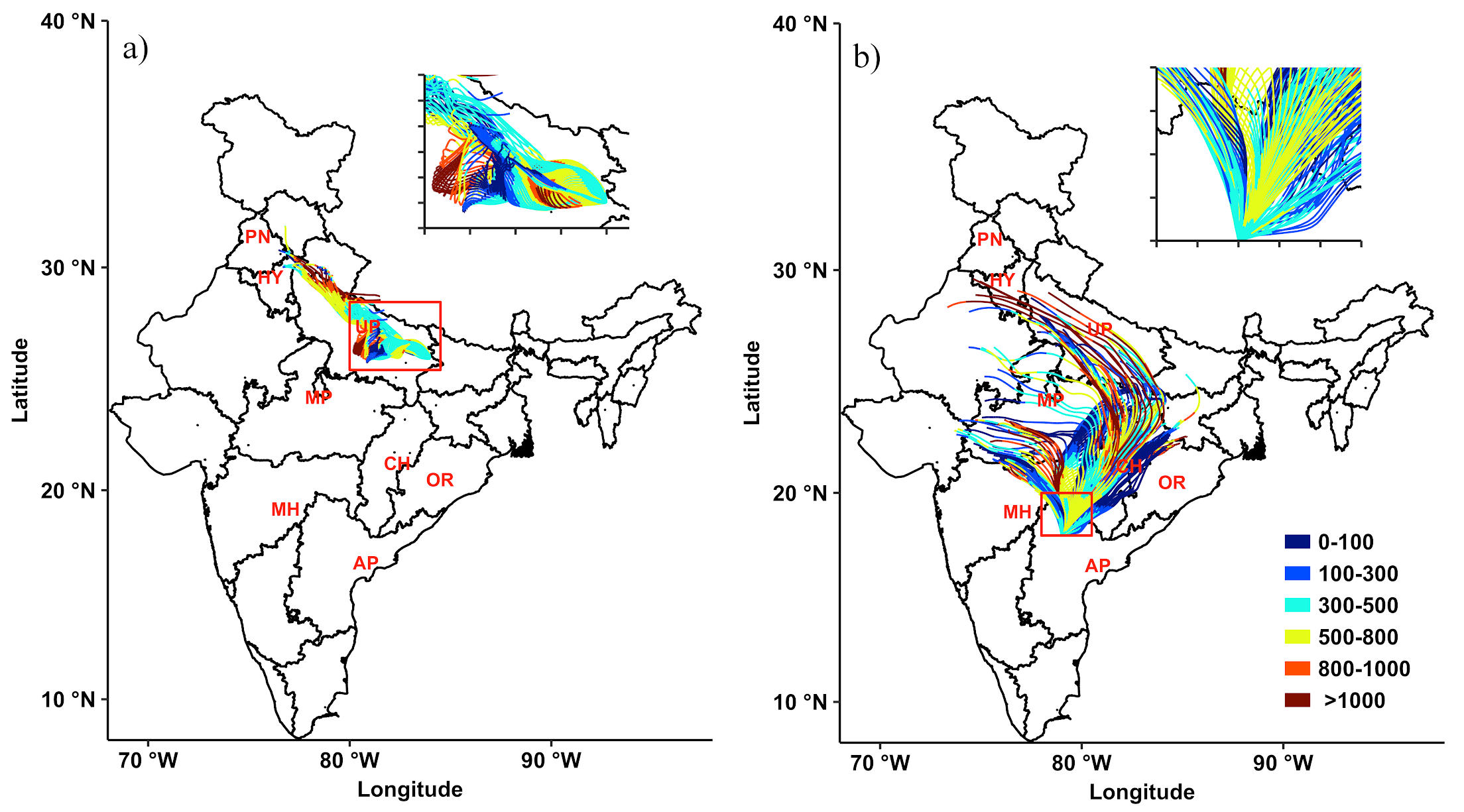 Wind back trajectories showing the wind patterns for (a) the eastern parts of the Indo-Gangetic Plains and (b) central-south India. The two-letter state abbreviations, stated in red, stand for PN – Punjab, HY – Haryana, UP – Uttar Pradesh, MP – Madhya Pradesh, MH – Maharashtra, AP – Andhra Pradesh, CH – Chattisgarh, OR – Odisha. Figure 4 of Sarkar, Singh, & Chauhan 2018
