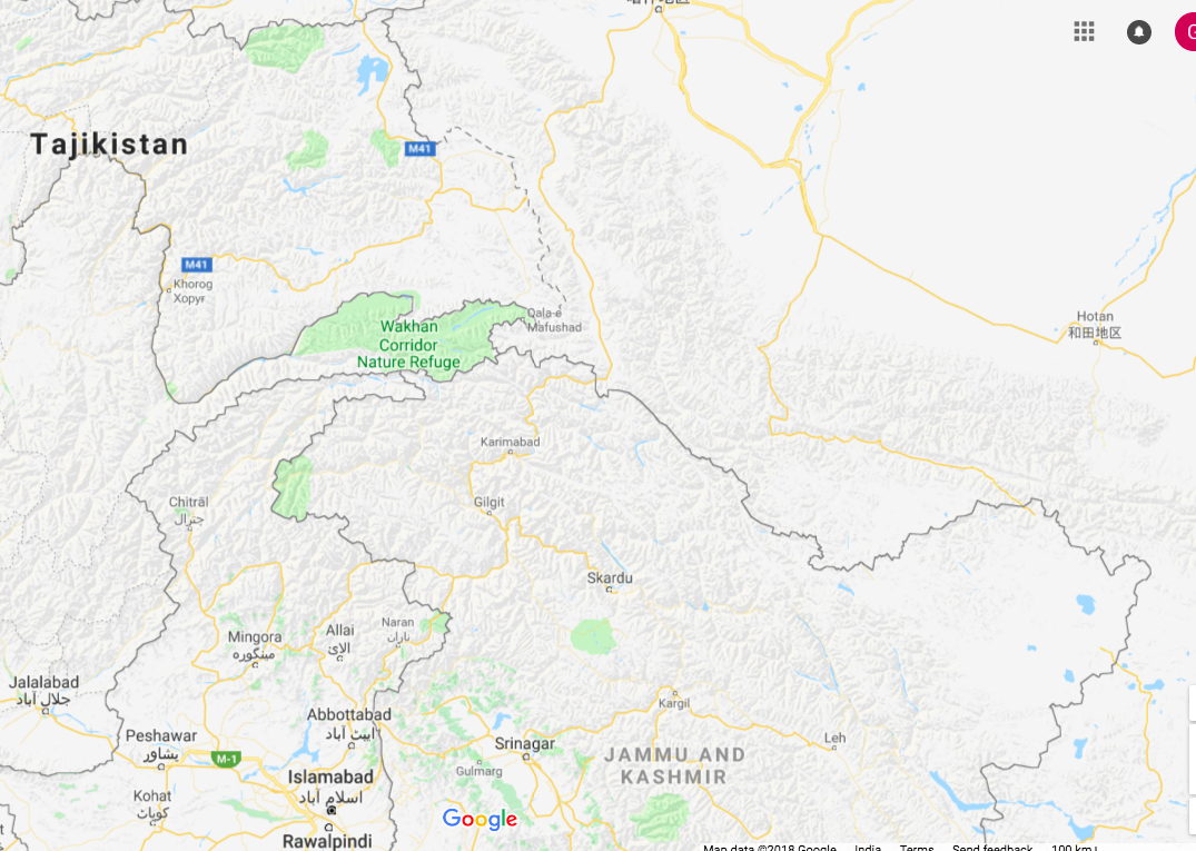 On Google Maps in India, it is all clean lines with Gilgit-Baltistan entirely within India's borders.