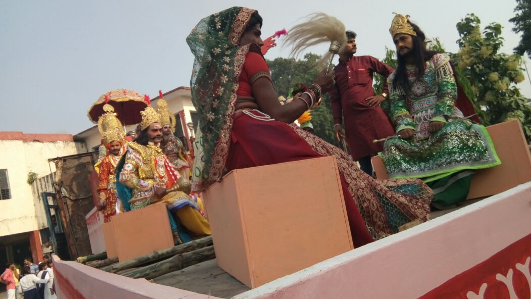 Students rehearse for the procession in Ayodhya. Photo credit: Dhirendra Jha