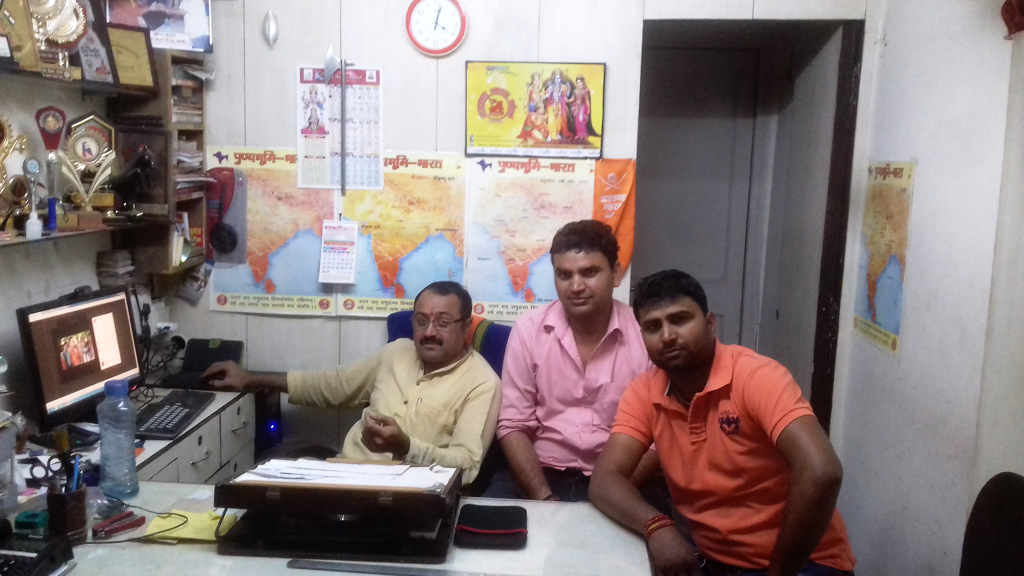 From left: Sandeep Ahuja, Virander Singh and Kuldeep Rathore in Akhand Bharat Morcha's office in Madhu Vihar. Photo credit: Abhishek Dey