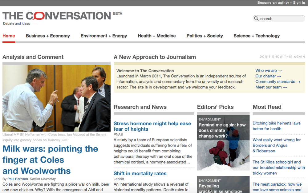 The Conversation when it launched in March 2011. Photo Credit: Internet Archive