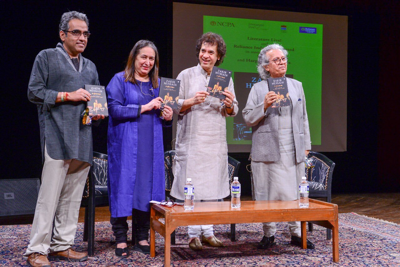 Nasreen Munni Kabir with Zakir Hussain at the launch of her conversation book in Mumbai in January. Image credit: Tata LitLive.