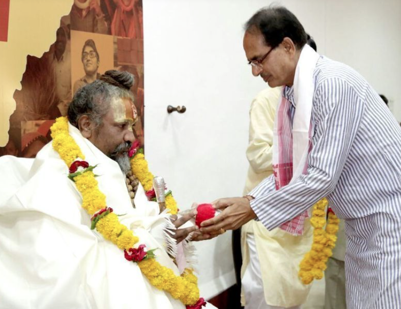 Madhya Pradesh Chief Minister Shivraj Singh Chouhan with Namdeo Das Tyagi, or Computer Baba – one of five religious leaders who have been granted minister of state status. (Credit: Raj Patidar)