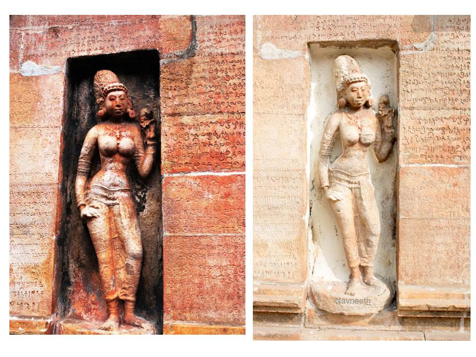 A sculpture at Nageshwaran temple in Kumbakonam before and after water-blasting. Credit: India Pride Project