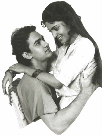 Aamir Khan and Juhi Chawla pose for a poster. Courtesy HarperCollins Publishers and Nasir Husain Films/Mansoor Khan.