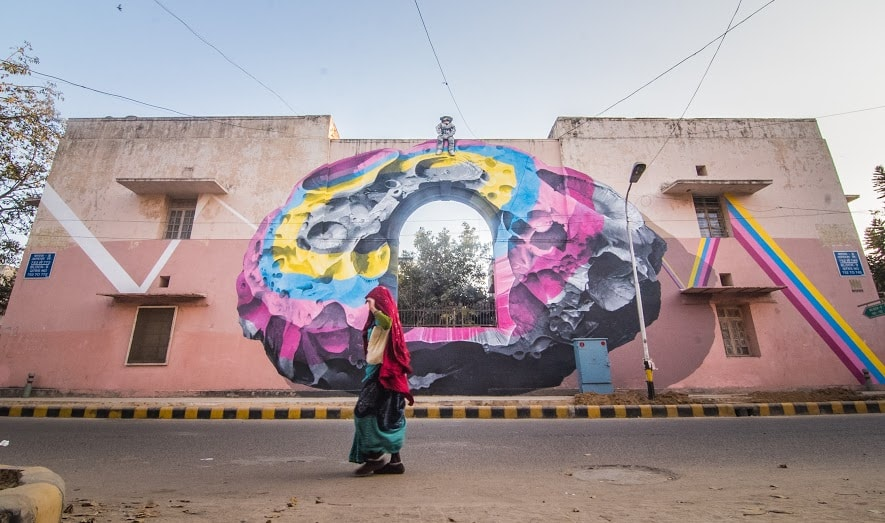 Art by Nevercrew, block 9, Lodhi Colony.  (Photograph: Naman Saraiya).